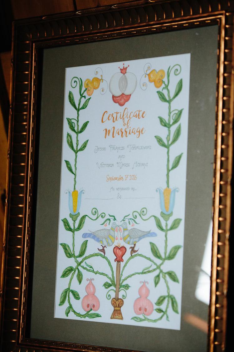 Framed Handmade Certificate of Marriage Artwork Art Nouveau Autumn Burgundy Wedding http://www.jbonadiophoto.com/