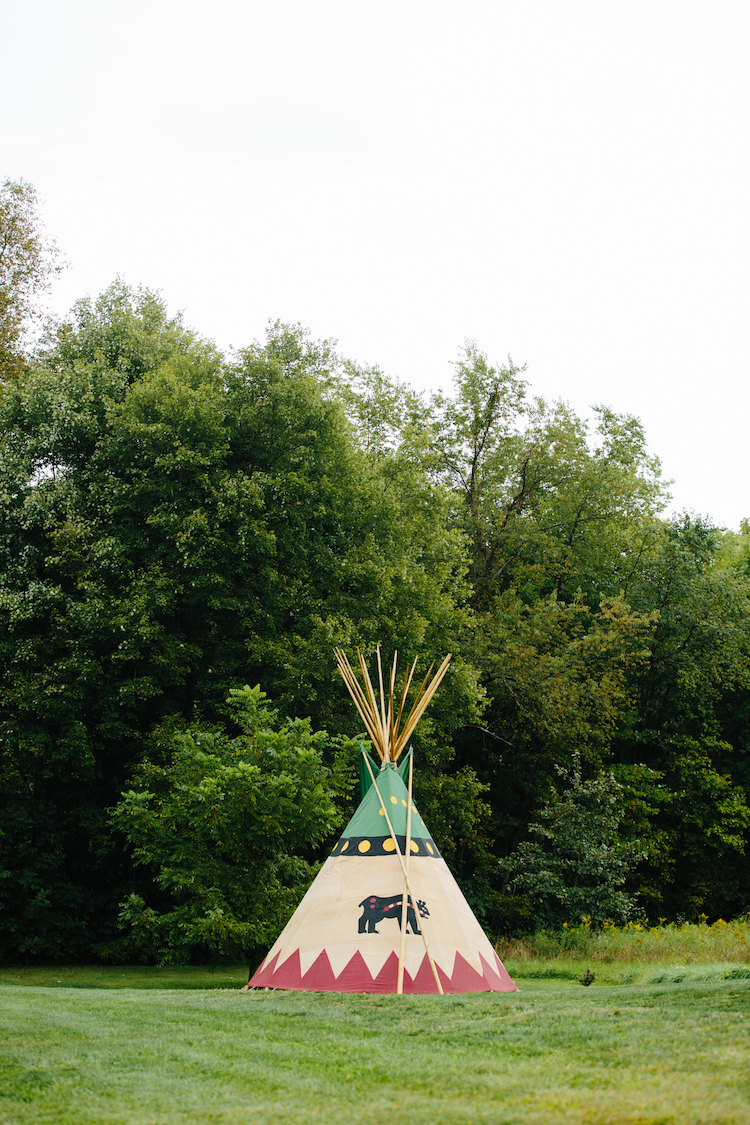Outdoor Ceremony Location Native American Tipi Trees Grass Art Nouveau Autumn Burgundy Wedding http://www.jbonadiophoto.com/