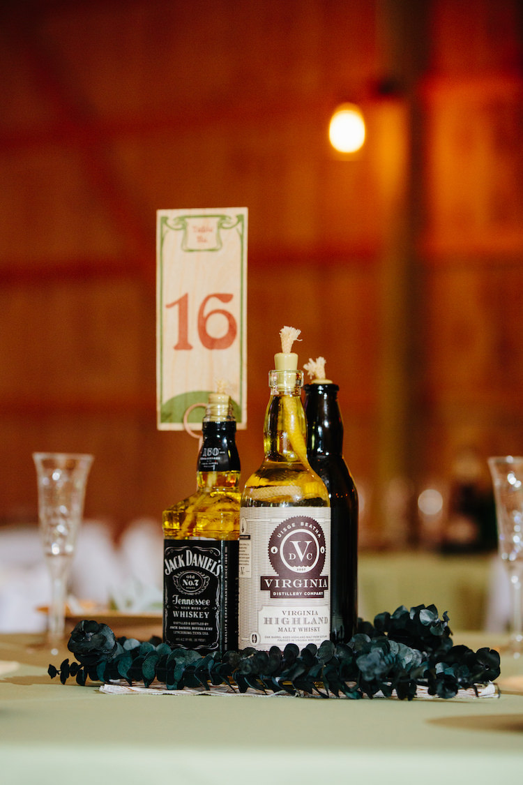 Table Setting Wooden Handmade Table Number Spirit Bottle Oil Lamps Greenery Barn Reception Art Nouveau Autumn Burgundy Wedding http://www.jbonadiophoto.com/