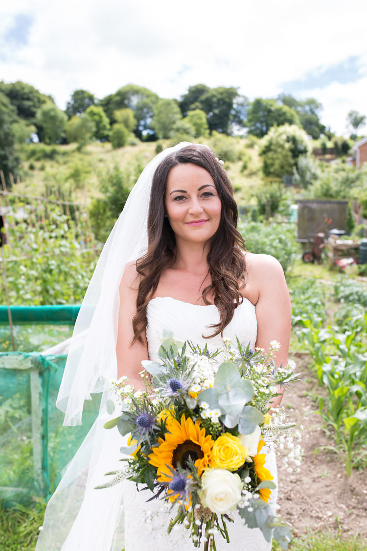 Bride Bridal Waves Hair Bouquet Flowers Summer Sunflowers Marquee Wedding http://maddiewaters.co.uk/