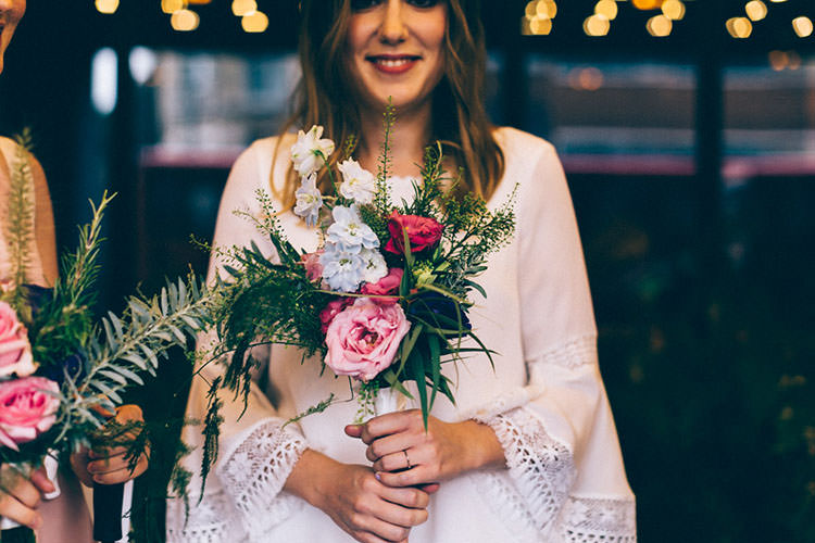 Bouquet Flowers Bride Bridal Rose Minimalist City 1970s East London Pub Wedding http://www.curiousrosephotography.com/