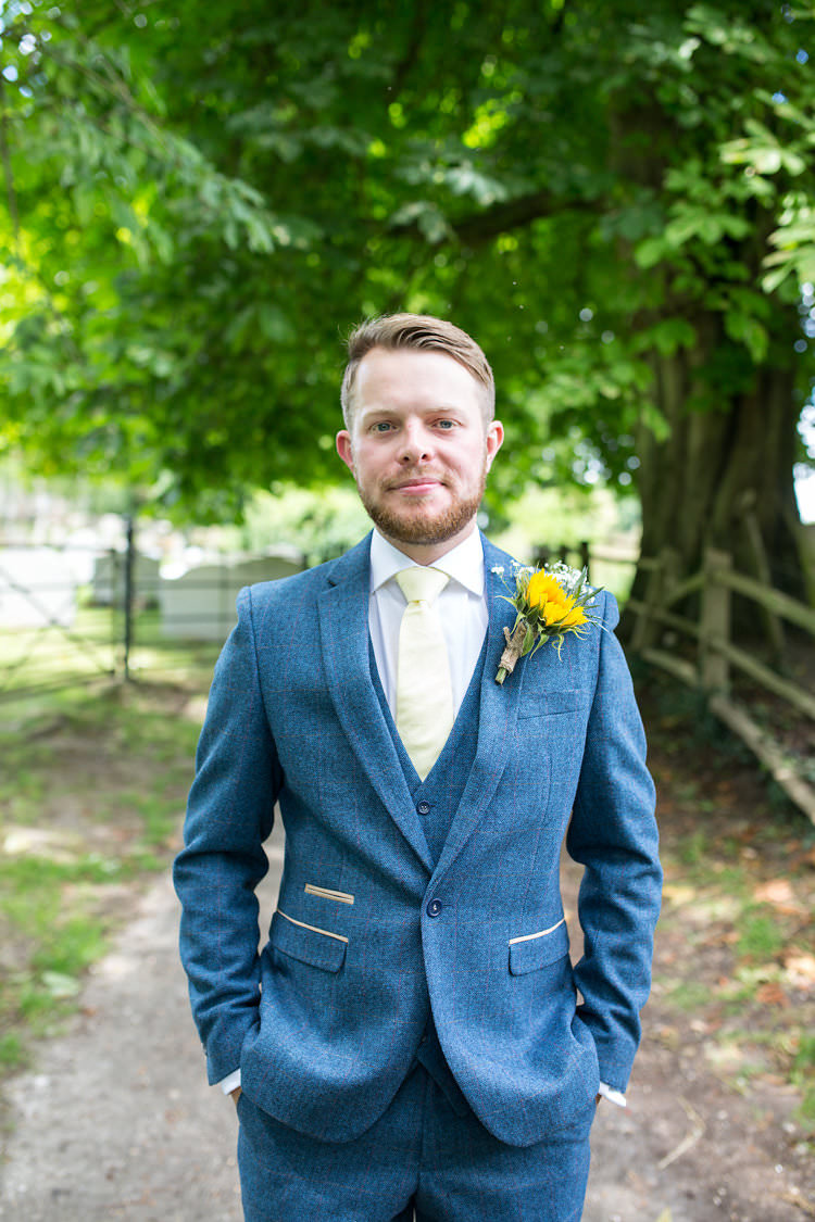 Blue Groom Tweed Suit Yellow Tie Buttonhole Summer Sunflowers Marquee Wedding http://maddiewaters.co.uk/