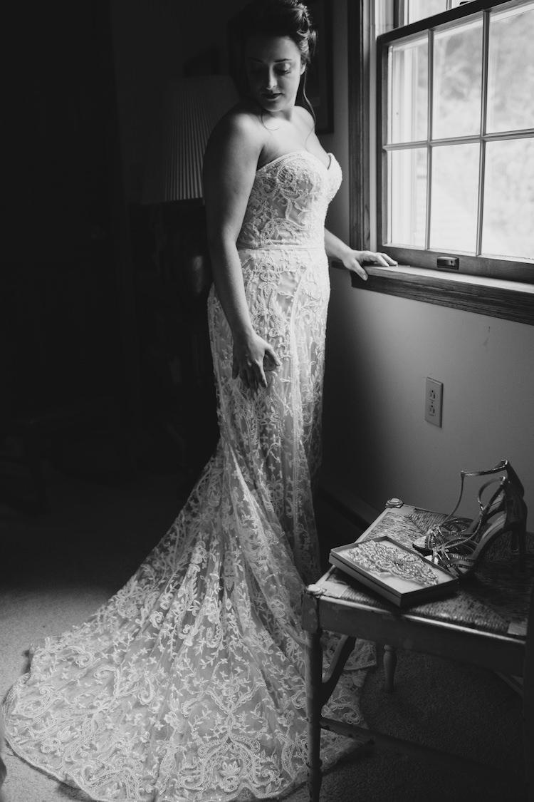 Bride Strapless Lace Watters Bridal Gown Gold High Heels Clutch Art Nouveau Autumn Burgundy Wedding http://www.jbonadiophoto.com/
