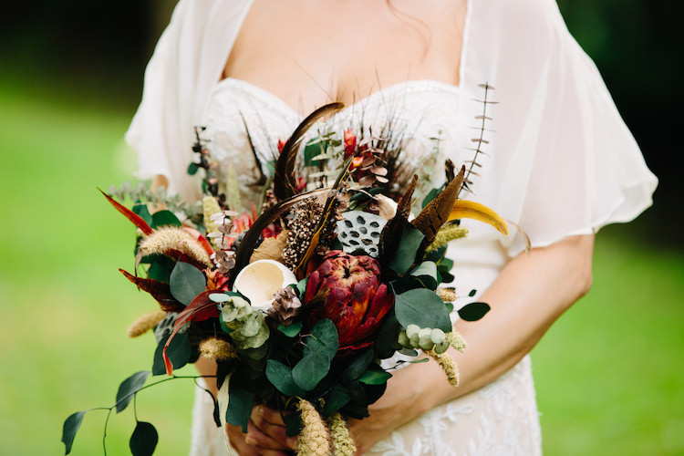 Bride Strapless Lace Watters Bridal Gown Sheer Top Bouquet Dried Flowers Feathers Antique Orange Velvet Ribbon Art Nouveau Autumn Burgundy Wedding http://www.jbonadiophoto.com/