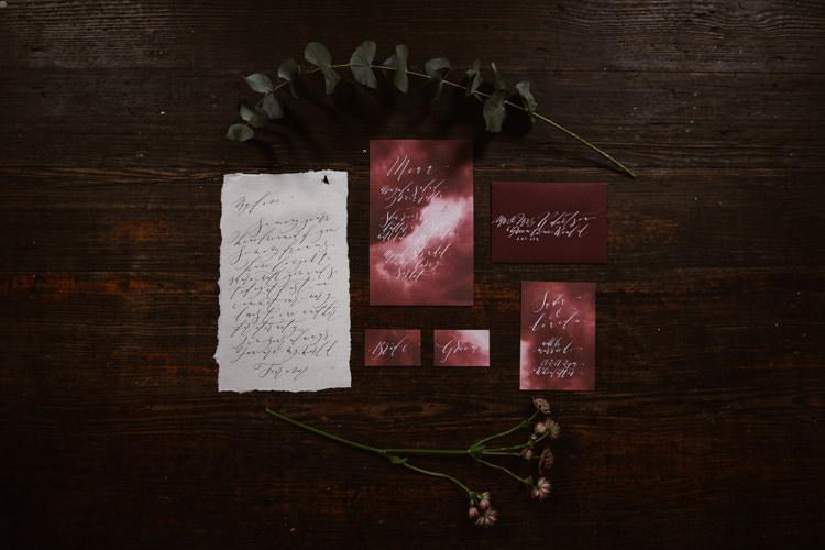 Red Calligraphy Stationery Invitations Dark Romantic Urban Wedding Ideas http://www.agnesblack.com/