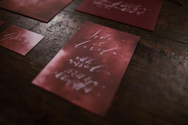 Red White Stationery Calligraphy Dark Romantic Urban Wedding Ideas http://www.agnesblack.com/