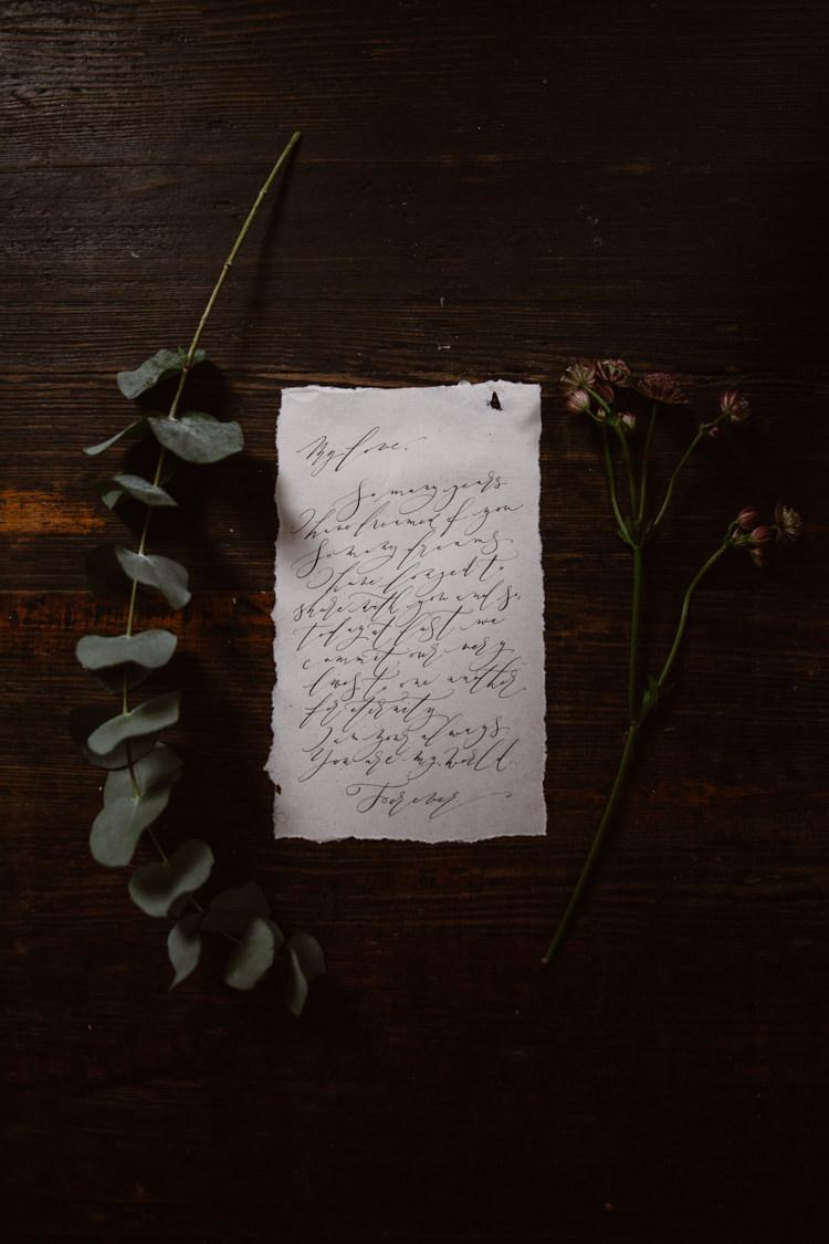 Calligraphy Love Letter Stationery Dark Romantic Urban Wedding Ideas http://www.agnesblack.com/
