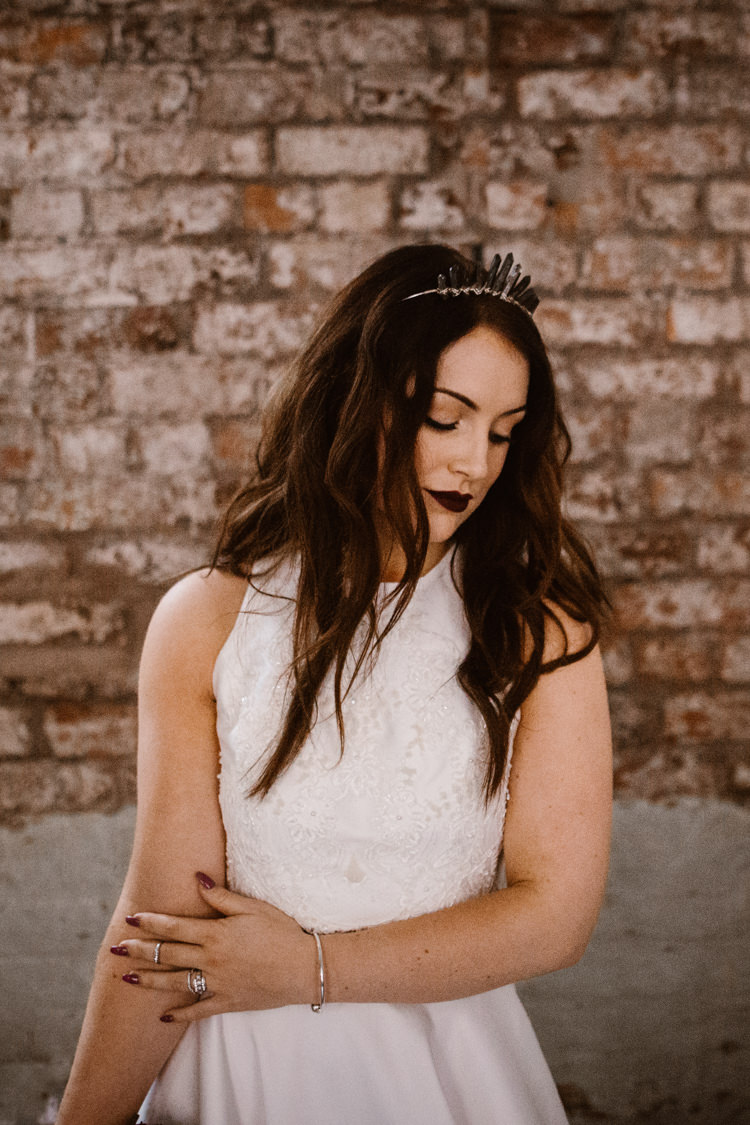 Bride Bridal Crown Tiara Hair Long Waves Dark Romantic Urban Wedding Ideas http://www.agnesblack.com/