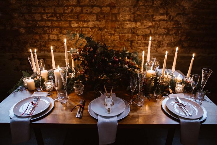 Tablescape Decor Candles Flowers Dark Romantic Urban Wedding Ideas http://www.agnesblack.com/