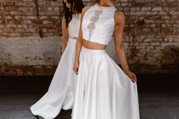 Bridal Seperates Top Skirt Bride Dark Romantic Urban Wedding Ideas http://www.agnesblack.com/