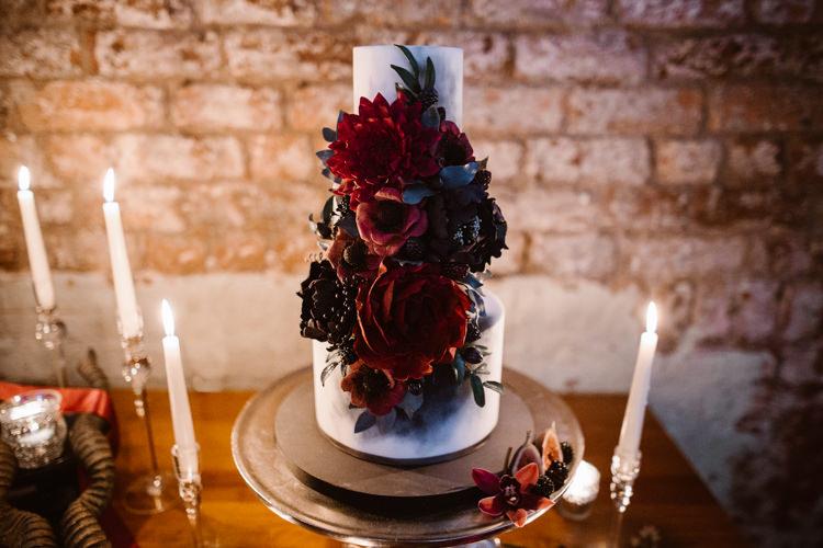 Red Black Floral Cake Dark Romantic Urban Wedding Ideas http://www.agnesblack.com/