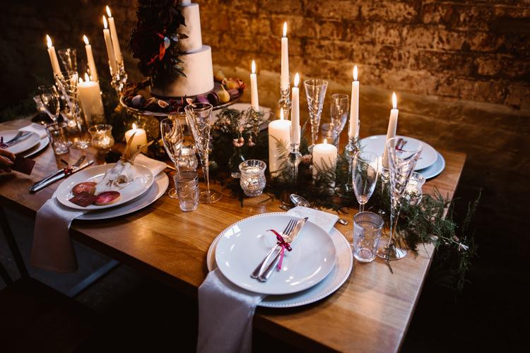 Candles Fern Greenery Table Runner Dark Romantic Urban Wedding Ideas http://www.agnesblack.com/