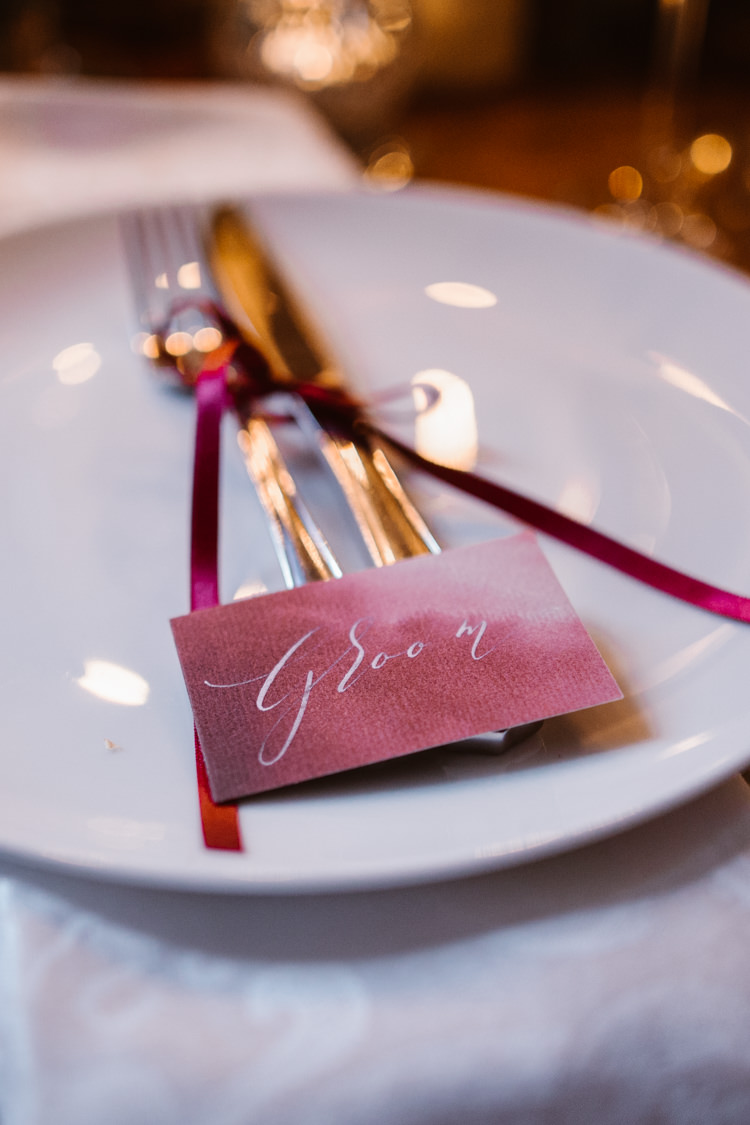Calligraphy Place Name Cards Dark Romantic Urban Wedding Ideas http://www.agnesblack.com/