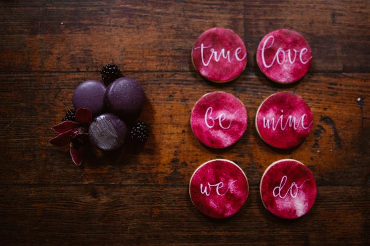 Calligraphy Cookies Dark Romantic Urban Wedding Ideas http://www.agnesblack.com/