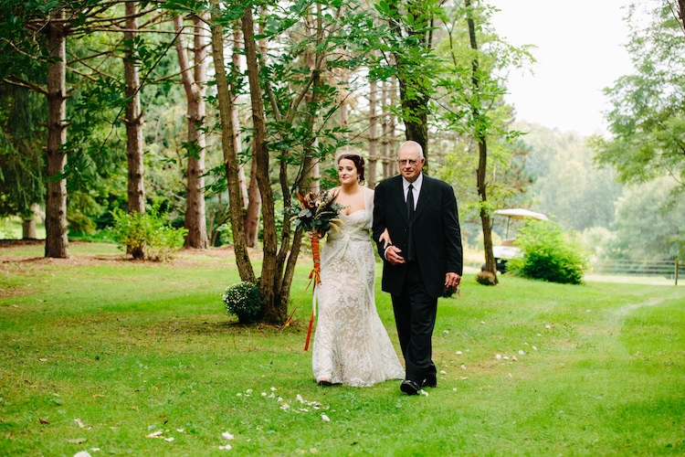Outdoor Ceremony Bride Strapless Lace Watters Bridal Gown Sheer Top Birdcage Veil Bouquet Dried Flowers Feathers Orange Velvet Ribbon Father Art Nouveau Autumn Burgundy Wedding http://www.jbonadiophoto.com/