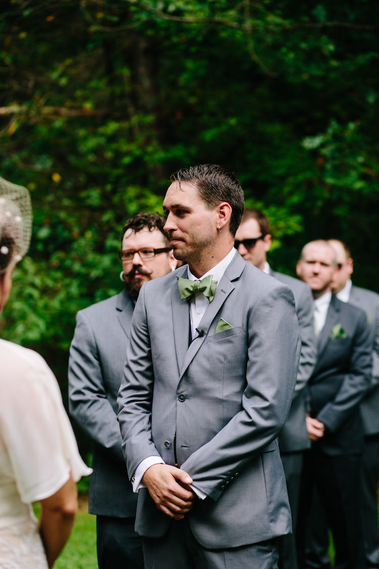 Outdoor Ceremony Groom Grey Suit Green Bowtie Pocket Square Groomsmen Grey Suits Green Ties Art Nouveau Autumn Burgundy Wedding http://www.jbonadiophoto.com/