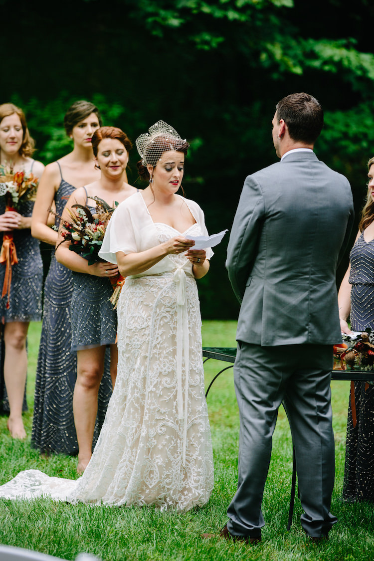 Outdoor Ceremony Bride Strapless Lace Watters Bridal Gown Sheer Top Birdcage Veil Groom Grey Suit Bridesmaids Grey Sequin Dresses Bouquets Dried Flowers Vows Art Nouveau Autumn Burgundy Wedding http://www.jbonadiophoto.com/