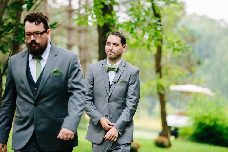 Outdoor Ceremony Groom Grey Suit Black Vest Green Bowtie Pocket Square Groomsman Grey Suit Green Tie Art Nouveau Autumn Burgundy Wedding http://www.jbonadiophoto.com/