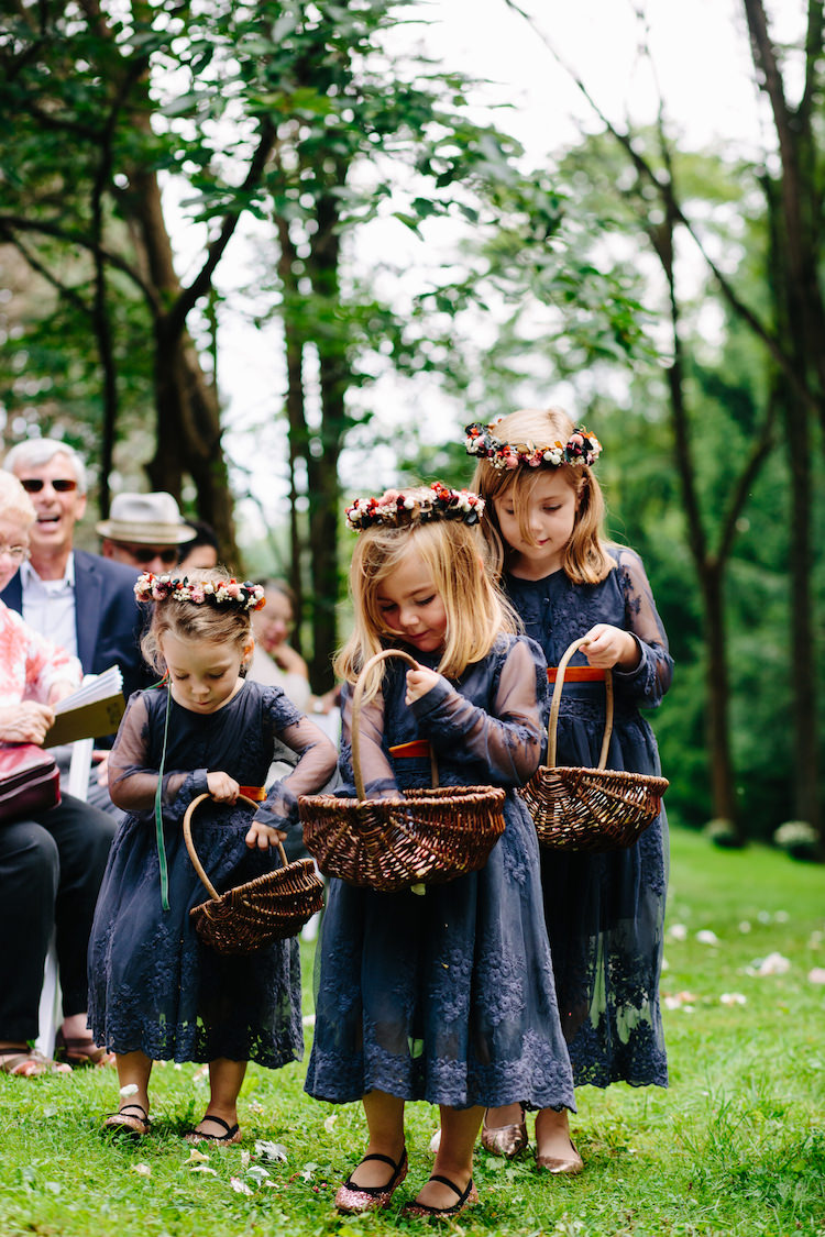 Flower Girls Charcoal Blue Lace Dresses Flower Crowns Baskets Guests Art Nouveau Autumn Burgundy Wedding http://www.jbonadiophoto.com/
