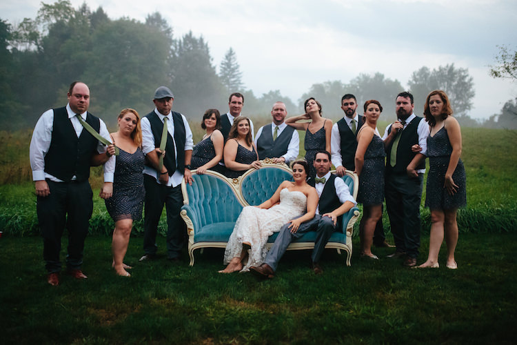 Bridal Party Antique Green Sofa Bride Strapless Lace Watters Bridal Gown Groom Black Vest Green Bowtie Bridesmaids Grey Sequin Dresses Groomsmen Black Vests Green Ties Art Nouveau Autumn Burgundy Wedding http://www.jbonadiophoto.com/