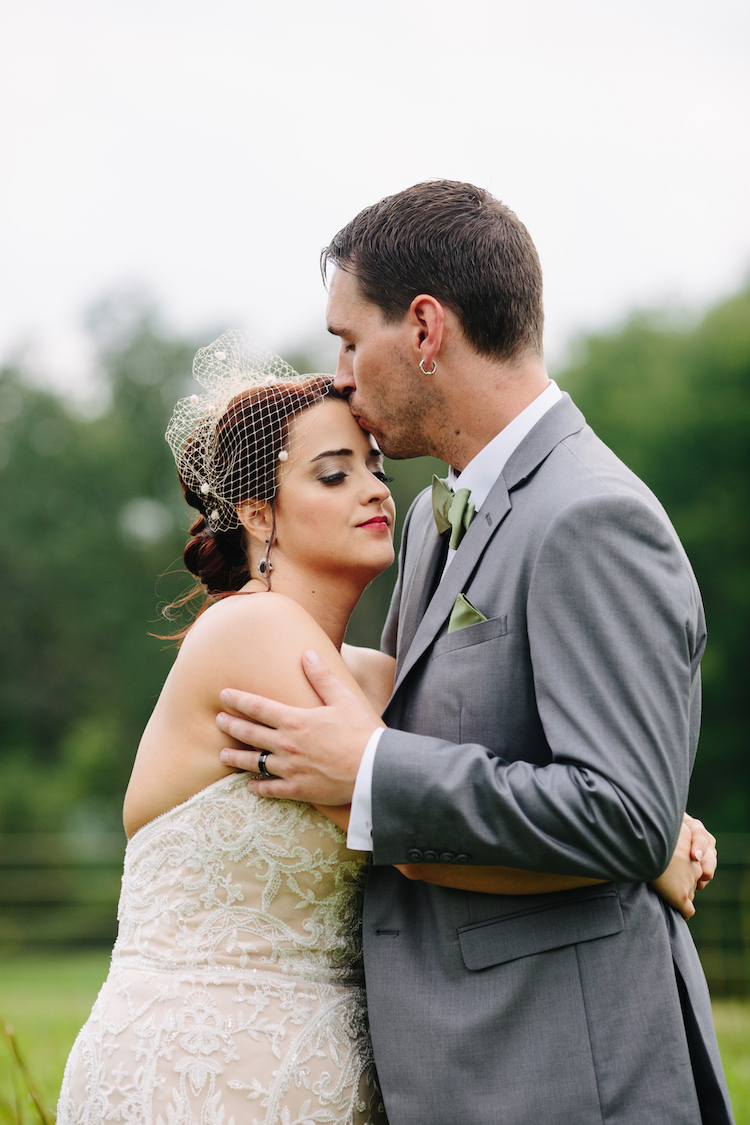 Bride Strapless Lace Watters Bridal Gown Birdcage Veil Art Deco Earrings Groom Grey Suit Black Vest Green Bowtie Pocket Square Art Nouveau Autumn Burgundy Wedding http://www.jbonadiophoto.com/