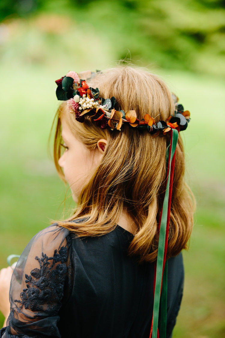 Flower Girl Charcoal Lace Dress Flower Crown Green Red Ribbon Art Nouveau Autumn Burgundy Wedding http://www.jbonadiophoto.com/