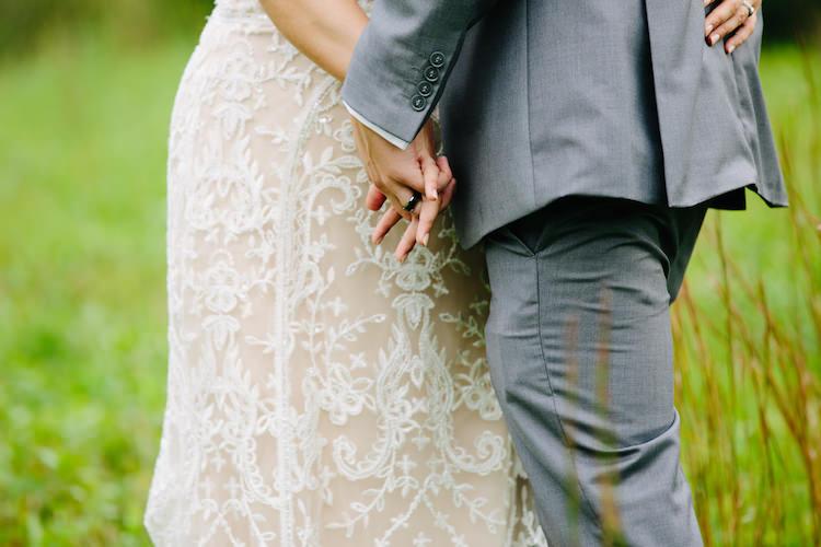 Bride Strapless Lace Watters Bridal Gown Groom Grey Suit Black Wedding Band Art Nouveau Autumn Burgundy Wedding http://www.jbonadiophoto.com/