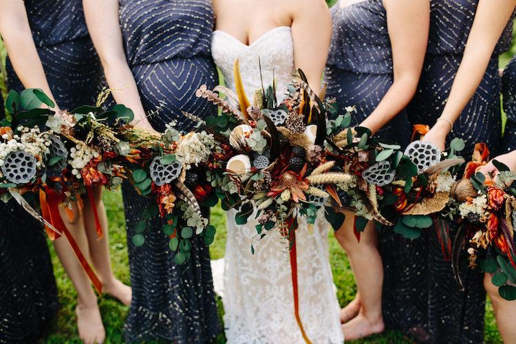 Bride Strapless Lace Watters Bridal Gown Bridesmaids Grey Sequin Dresses Bouquets Dried Flowers Feathers Antique Orange Velvet Ribbon Art Nouveau Autumn Burgundy Wedding http://www.jbonadiophoto.com/