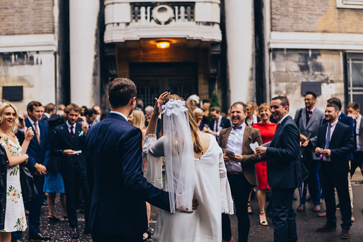 Short Veil Bride Bridal Minimalist City 1970s East London Pub Wedding http://www.curiousrosephotography.com/