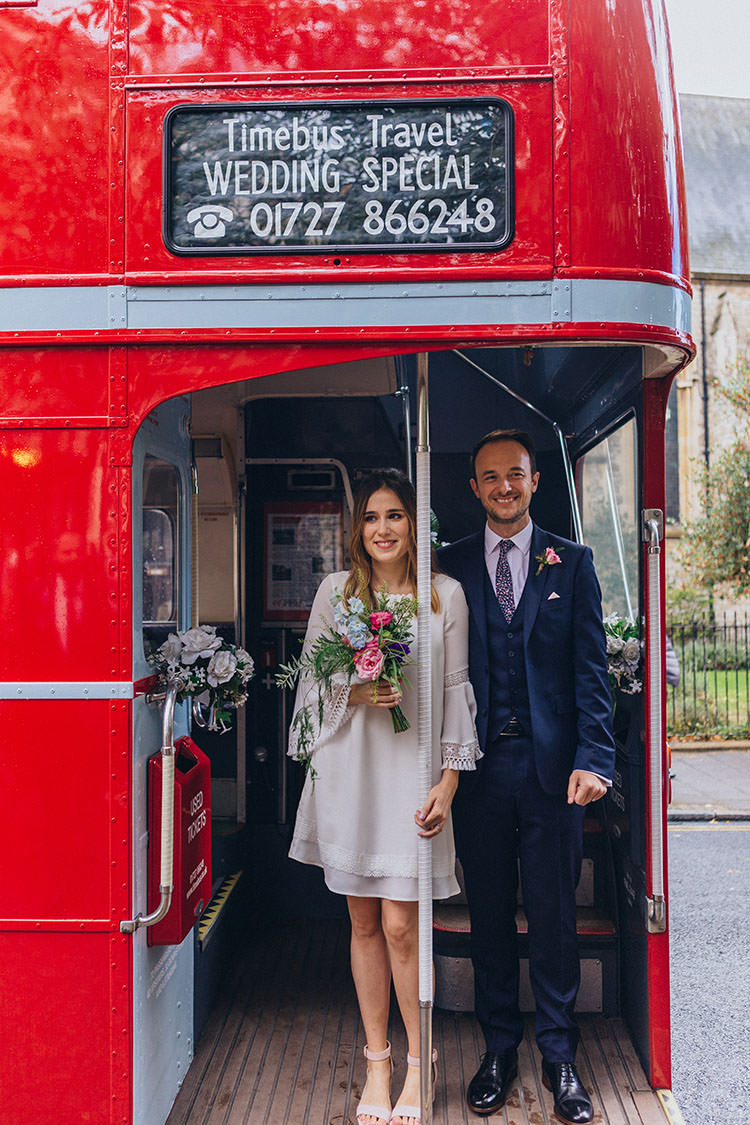 Red Bus Transport Minimalist City 1970s East London Pub Wedding http://www.curiousrosephotography.com/