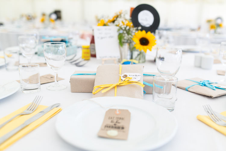 Kraft Paper Wrapping Gift Present Favour Summer Sunflowers Marquee Wedding http://maddiewaters.co.uk/