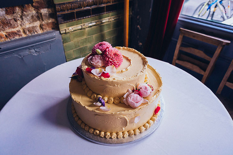 Buttercream Cake Flowers Topper Minimalist City 1970s East London Pub Wedding http://www.curiousrosephotography.com/