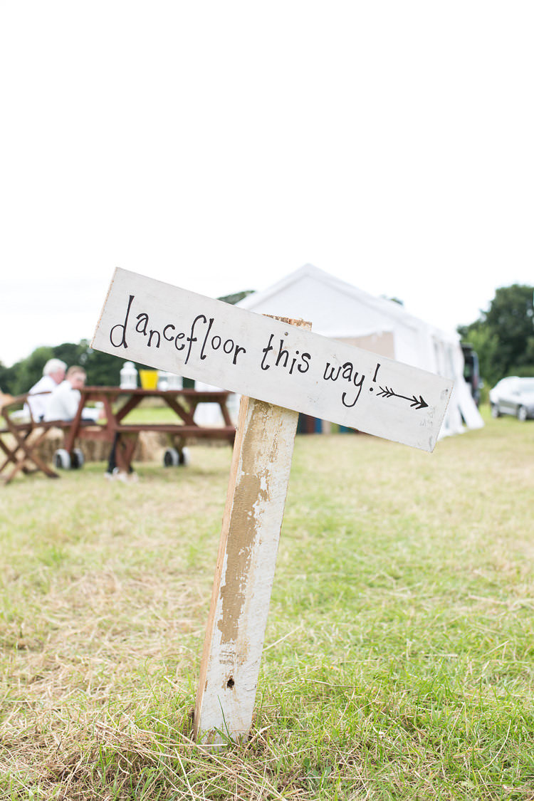 Dancefloor Sign Post Summer Sunflowers Marquee Wedding http://maddiewaters.co.uk/