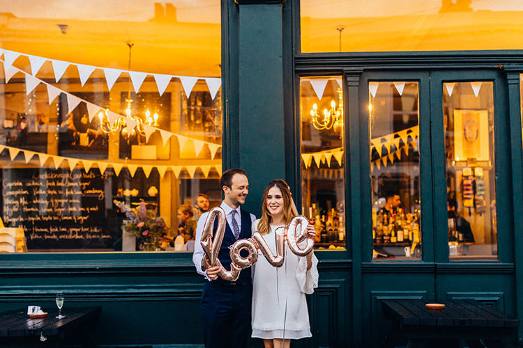 Love Balloon Minimalist City 1970s East London Pub Wedding http://www.curiousrosephotography.com/