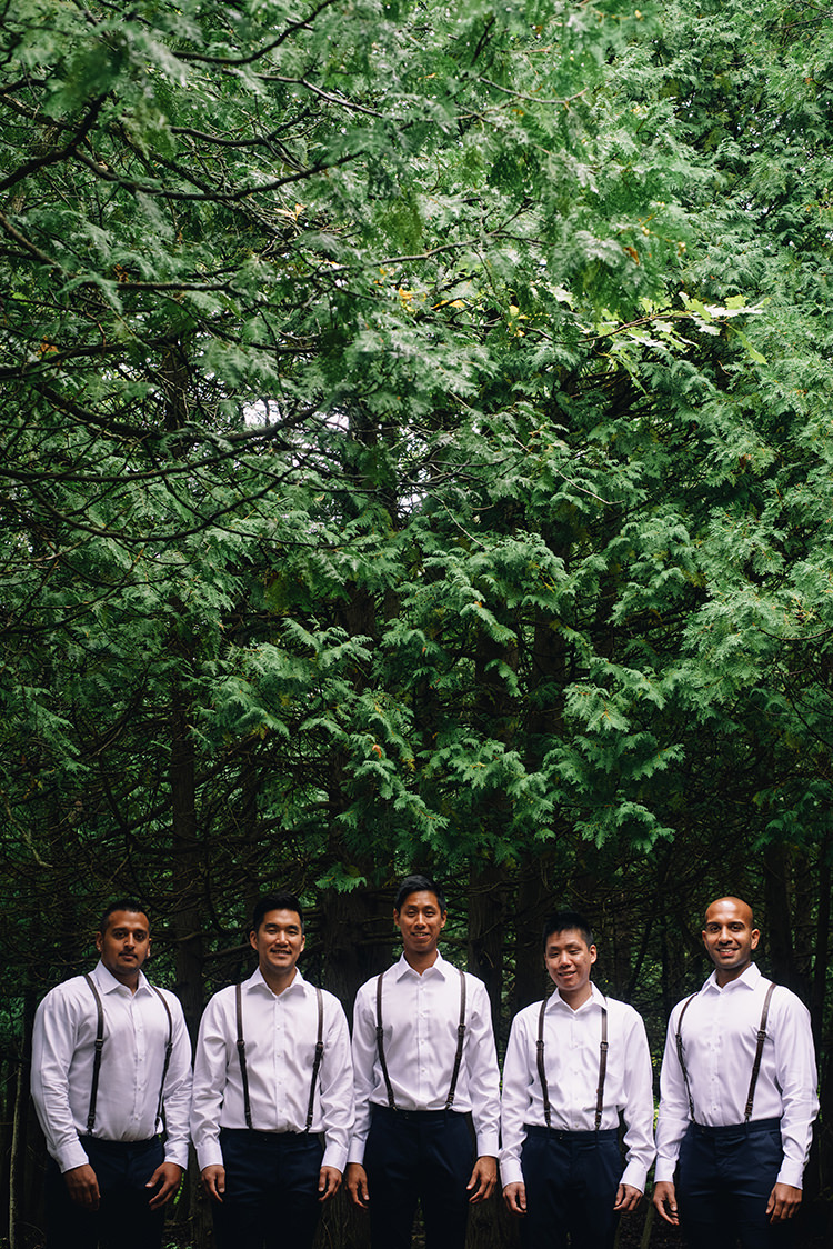 Groom Groomsmen White Shirts Brown Leather Suspenders Navy Pants Trees Woodland Waterfall Mint Wedding Ontario http://www.laurenmccormickphotography.com/