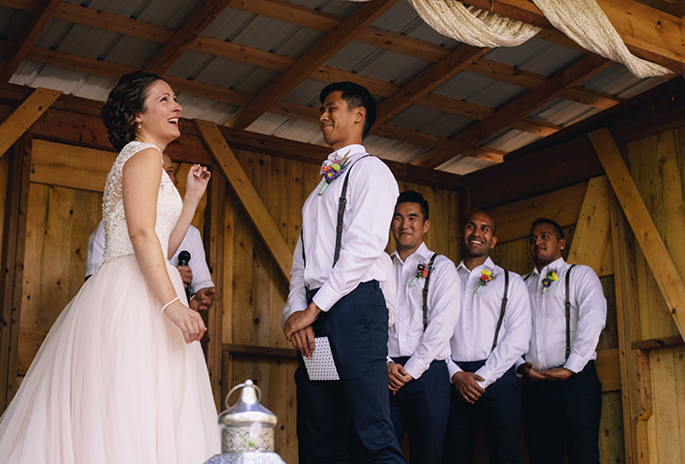 Outdoor Ceremony Bride Allure Champagne Lace Tulle Bridal Gown Groom White Shirt Brown Leather Suspenders Navy Pants Multicoloured Floral Buttonhole Groomsmen Woodland Waterfall Mint Wedding Ontario http://www.laurenmccormickphotography.com/