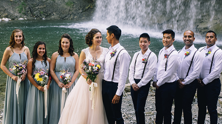 Bridal Party Bride Allure Champagne Lace Tulle Bridal Gown Multicoloured Floral Bouquet Bridesmaids Grey Gold Dresses Groom Groomsmen White Shirt Brown Leather Suspenders Navy Pants Multicoloured Floral Buttonholes Woodland Waterfall Mint Wedding Ontario http://www.laurenmccormickphotography.com/