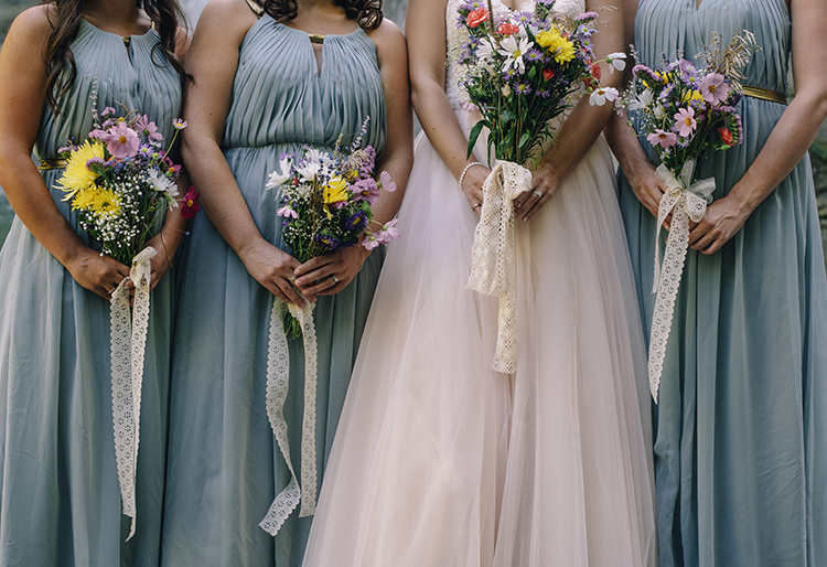 Bride Allure Champagne Lace Tulle Bridal Gown Bridesmaids Grey Gold Dresses Bouquets Multicoloured Florals Daisies Gerbras Lace Ribbons Woodland Waterfall Mint Wedding Ontario http://www.laurenmccormickphotography.com/