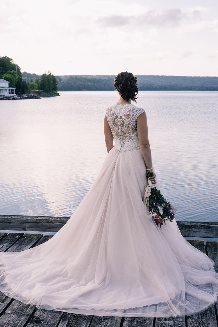 Bride Allure Champagne Lace Tulle Bridal Gown Multicoloured Floral Bouquet Lace Ribbon Pearl Bracelet Woodland Waterfall Mint Wedding Ontario http://www.laurenmccormickphotography.com/