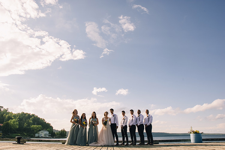 Bridal Party Bride Allure Champagne Lace Tulle Bridal Gown Multicoloured Floral Bouquet Lace Ribbon Bridesmaids Grey Gold Dresses Groom Groomsmen White Shirts Brown Leather Suspenders Navy Pants Multicoloured Floral Buttonholes Woodland Waterfall Mint Wedding Ontario http://www.laurenmccormickphotography.com/