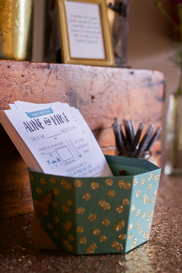 Reception Personalised Guest Note Activity Stationery Mint Gold Box Pens Woodland Waterfall Mint Wedding Ontario http://www.laurenmccormickphotography.com/
