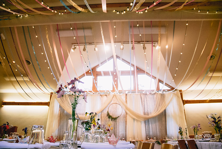 Reception Hanging Décor Fairy Lights Multicoloured Ribbons Long Tables Multicoloured Flowers Glass Vases Wooden Floral Wreath Woodland Waterfall Mint Wedding Ontario http://www.laurenmccormickphotography.com/