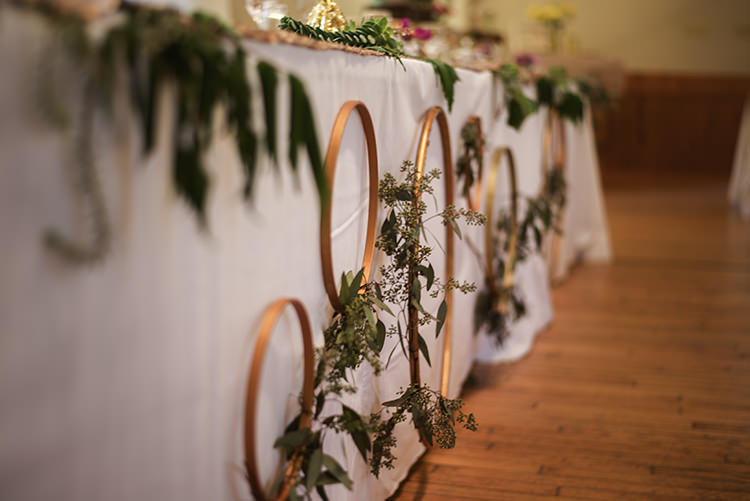 Table Décor Gold Wreaths Greenery Fresh Florals White Tablecloth Woodland Waterfall Mint Wedding Ontario http://www.laurenmccormickphotography.com/