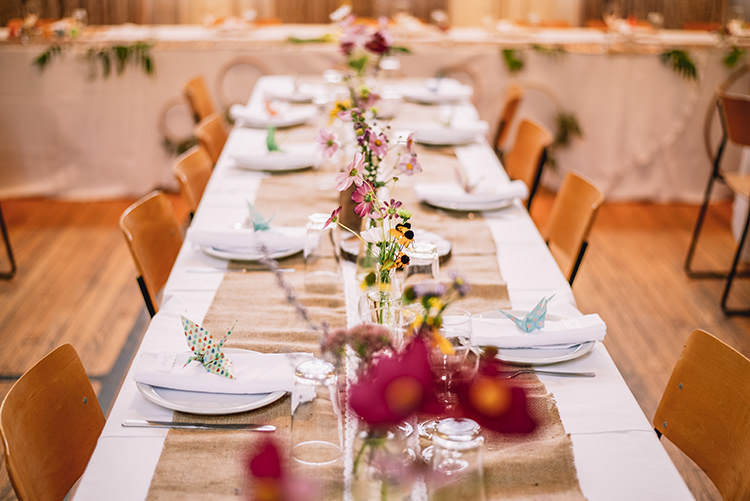 Reception Long Table Fresh Multicoloured Florals Daises Tall Glass Vases Origami Crane Woodland Waterfall Mint Wedding Ontario http://www.laurenmccormickphotography.com/