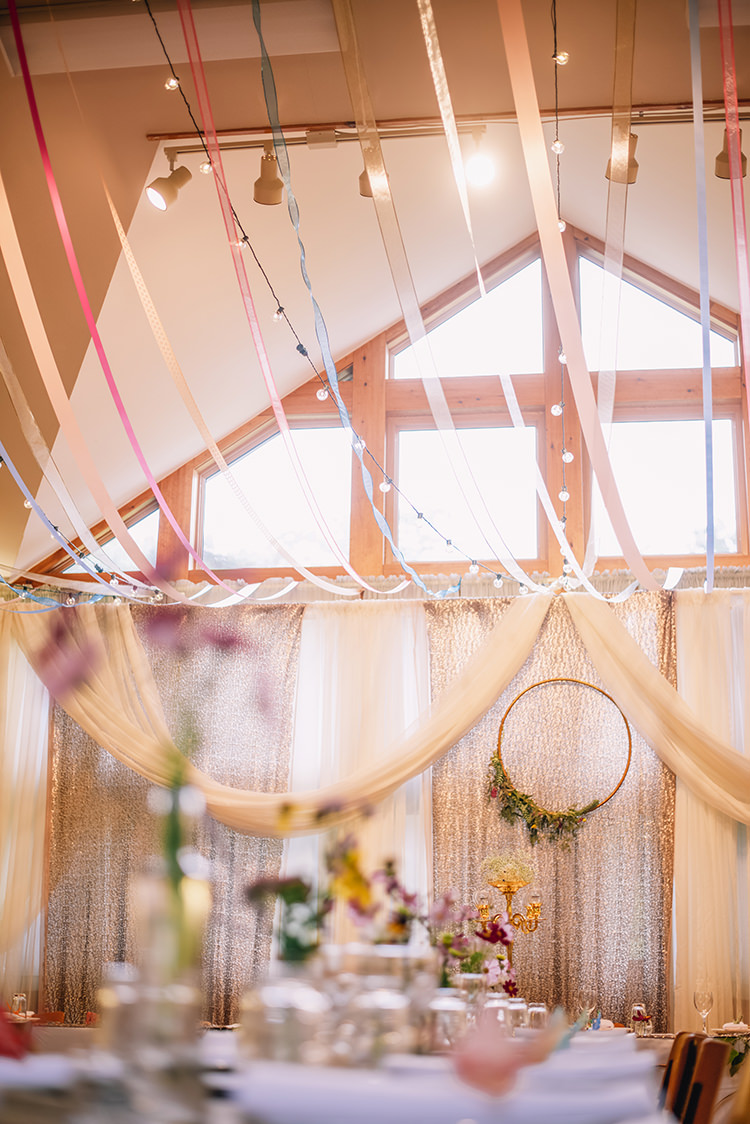 Reception Hanging Décor Fairy Lights Multicoloured Pastel Ribbons Wooden Floral Wreath Long Tables Fresh Flowers Woodland Waterfall Mint Wedding Ontario http://www.laurenmccormickphotography.com/