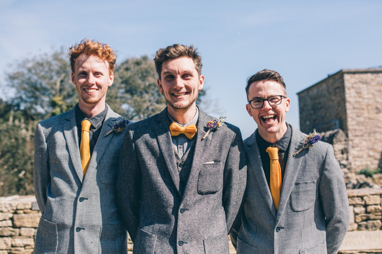 Tweed Groomsmen Suit Jackets Yellow Tie Crafty Country Rustic Wedding http://www.naomijanephotography.com/