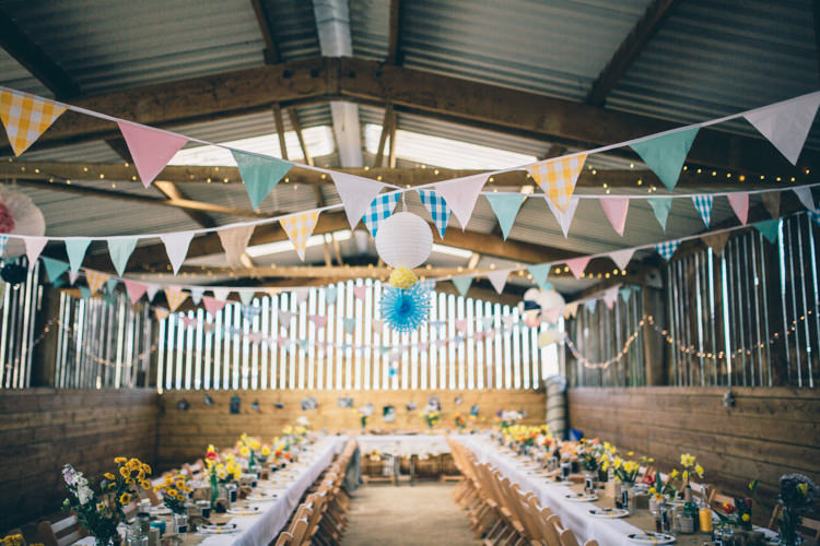 Barn Shed Bunting Lanterns Blue Yellow Crafty Country Rustic Wedding http://www.naomijanephotography.com/