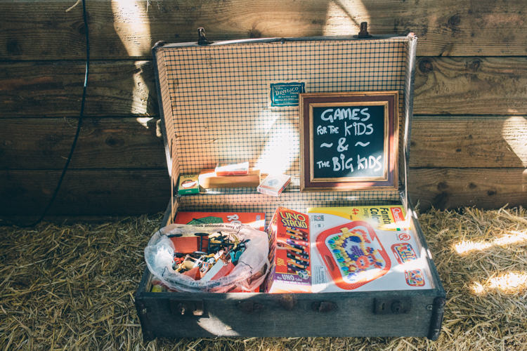 Suitcase Games Kids Crafty Country Rustic Wedding http://www.naomijanephotography.com/
