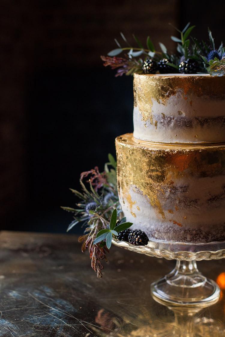 Blue Gold Leaf Cake Buttercream Rustic Luxe Victorian Wedding Ideas http://www.francescarlisle.co.uk/