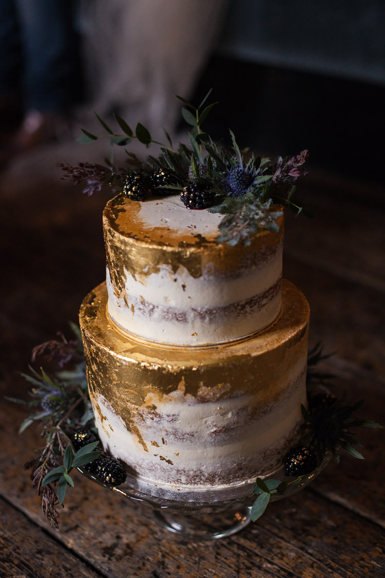 Blue Gold Leaf Cake Buttercream Naked Luxe Victorian Wedding Ideas http://www.francescarlisle.co.uk/